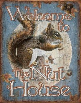 WELCOME - Nut House Metalen Wandplaat
