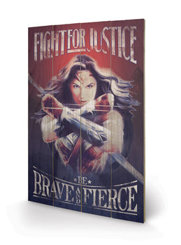 Poster su legno Wonder Woman - Fight For Justice