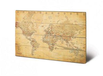 Obraz na dřevě - Mapa světa - starý styl