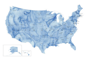 Карта Blue watercolor map of the US with state capitals