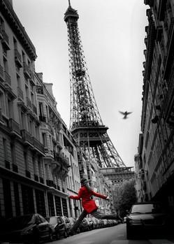 Parijs - la veste rouge XXL plakat