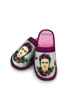 Zapatillas de ir por casa Frida Kahlo - Violet Bouquet