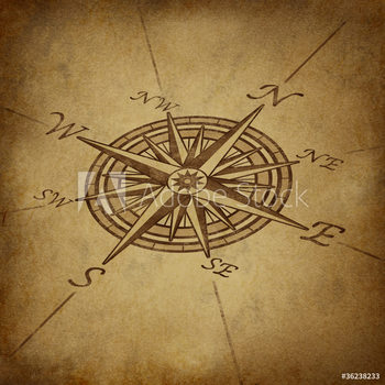 Rámovaný plakát  Compass rose in perspective with grunge texture