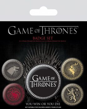 Komplet značk Game of Thrones - The Four Great Houses