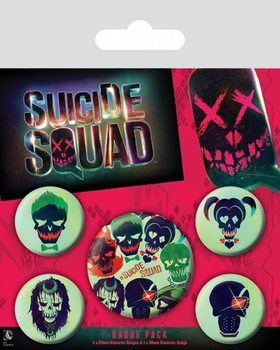 Komplet značk Suicide Squad - Skulls