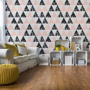Modern Geometric Triangle Pattern Pink Black фототапет