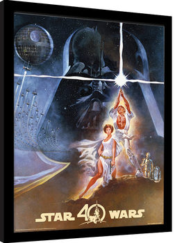 Star Wars 40th Anniversary - New Hope Art Рамкиран плакат