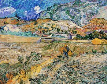 Enclosed Wheat Field with Peasant - Landscape at Saint-Rémy, 1889 Художествено Изкуство
