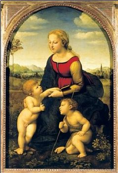 Raphael Sanzio - Madonna And Child With St. John The Baptist, 1507 Художествено Изкуство