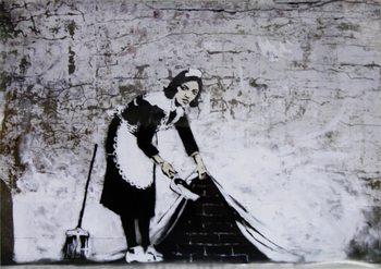 Banksy Street Art - Cleaning Maid - плакат