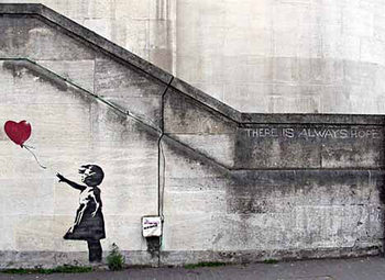 Banksy Street Art - Girl with Red Balloon Hope плакат