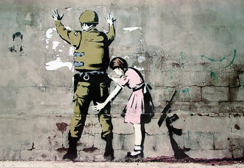 Banksy street art - Graffiti Soldier and girl плакат