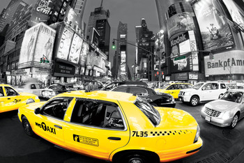 Rush hour Times square - Yellow cabs плакат