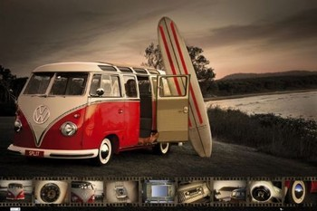 VW Volkswagen Kombi - surfboard - плакат
