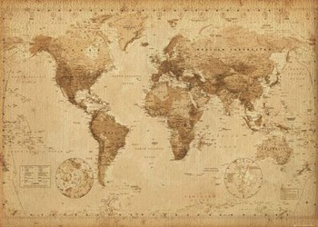 World Map - Antique Style плакат