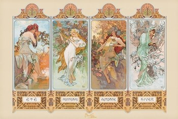 Alfons Mucha – four seasons Affiche