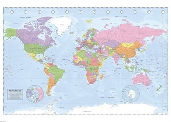 Carte Politique du Monde Affiche