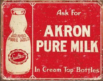 AKRON - Pure Milk Metalen Wandplaat