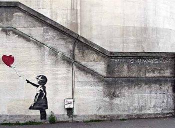 Banksy Street Art - Girl with Red Balloon Hope плакат