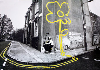 Banksy street art - yellow flower плакат