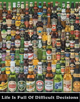 Beer - difficult decisions - плакат (poster)