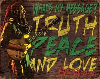 Bob Marley - Message Metalen Wandplaat