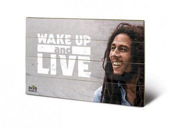 Bild auf Holz Bob Marley - Wake Up & Live