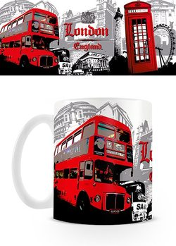 London - Red Bus Collage bögre