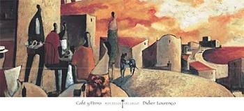 Café y Perro Festmény reprodukció