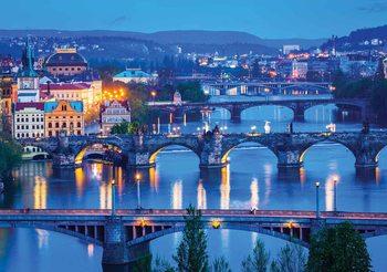 Carta da parati Città Ponti del fiume di Praga