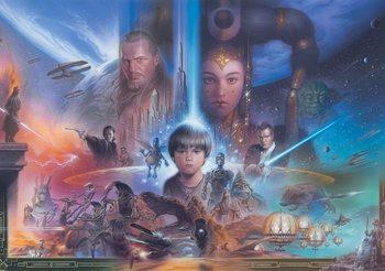 Carta da parati Star Wars Giovane Anakin Queen Amidala