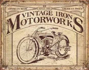 Vintage iron motorworks cartelli pubblicitari in metallo - Specchi pubblicitari vintage ...