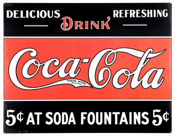 COKE 5c AT FOUNTAIN Metalplanche