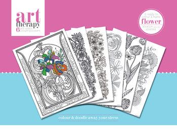 Färgläggnings posters Art Therapy - Flower