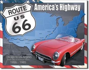 ROUTE 66 - 1926-1985 fémplakát