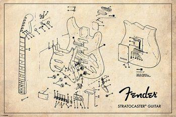 Fender - Exploding Stratocaster - плакат (poster)
