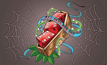 Alchemy Dice Tomb Skulls Spider Web Fotobehang