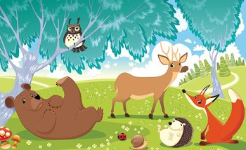 Animals In Forest Fotobehang