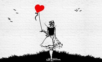 Brick Wall Heart Balloon Girl Graffiti Fotobehang