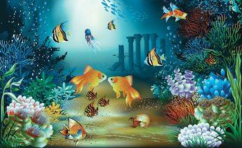 Fishes Corals Sea Fotobehang