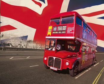 Londen - rode bus Fotobehang
