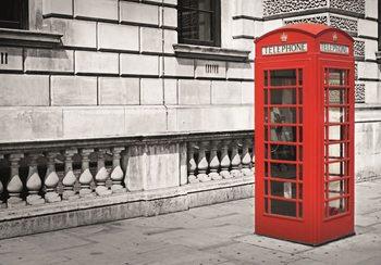 Londen - rode telefooncel Fotobehang