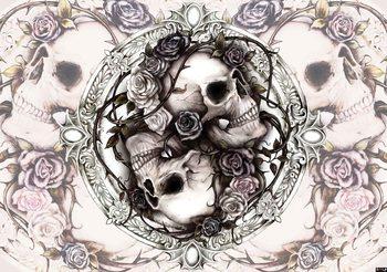 Skull Alchemy Roses Fotobehang