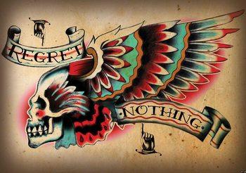 Skull Tattoo Wing Fotobehang