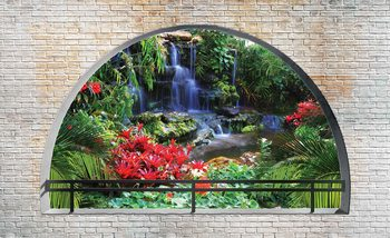 Waterfall Lake Arch View Fotobehang