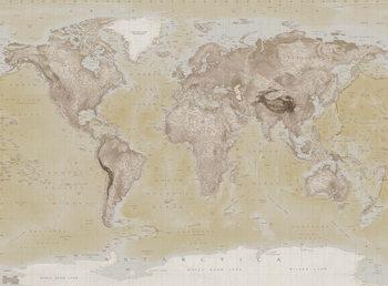 Wereldkaart -Neutral Fotobehang