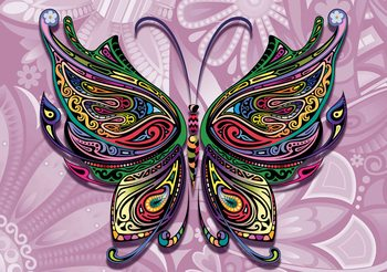 Fotomurale Butterfly Flowers Abstract Colours