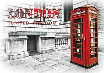 Fotomurale City London Teléfono Caja Rojo