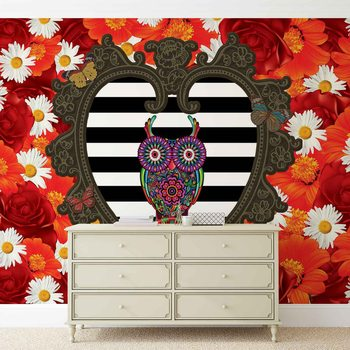 Fotomurale Floral Heart Owl Red