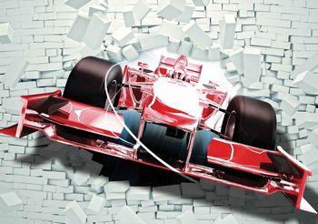 Fotomurale Formula 1 carros de carreras en ladrillos